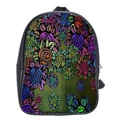 Grunge Rose Background Pattern School Bags (xl)  by Nexatart