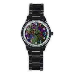 Grunge Rose Background Pattern Stainless Steel Round Watch