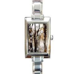 Fall Forest Artistic Background Rectangle Italian Charm Watch