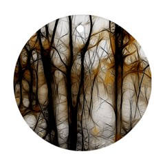 Fall Forest Artistic Background Ornament (round)