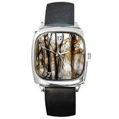 Fall Forest Artistic Background Square Metal Watch by Nexatart