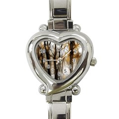 Fall Forest Artistic Background Heart Italian Charm Watch by Nexatart