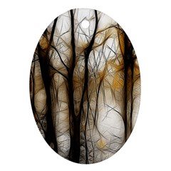 Fall Forest Artistic Background Oval Ornament (two Sides) by Nexatart