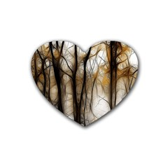 Fall Forest Artistic Background Heart Coaster (4 Pack)  by Nexatart