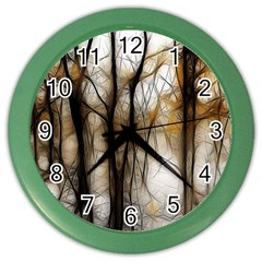 Fall Forest Artistic Background Color Wall Clocks