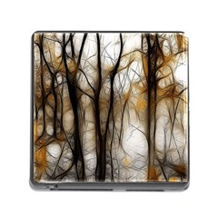 Fall Forest Artistic Background Memory Card Reader (square)