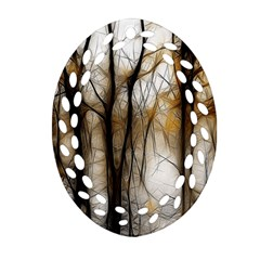 Fall Forest Artistic Background Oval Filigree Ornament (two Sides) by Nexatart