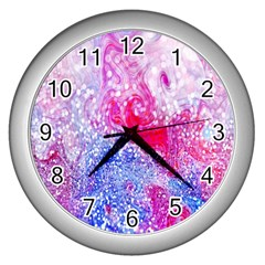 Glitter Pattern Background Wall Clocks (silver)  by Nexatart
