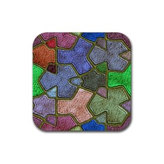 Background With Color Kindergarten Tiles Rubber Coaster (square)  by Nexatart