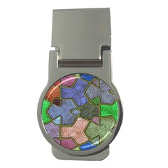 Background With Color Kindergarten Tiles Money Clips (round)  by Nexatart