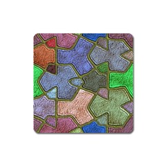 Background With Color Kindergarten Tiles Square Magnet by Nexatart