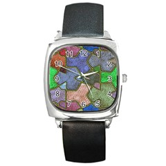 Background With Color Kindergarten Tiles Square Metal Watch by Nexatart