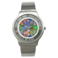 Background With Color Kindergarten Tiles Stainless Steel Watch