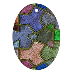Background With Color Kindergarten Tiles Oval Ornament (two Sides)