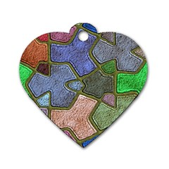 Background With Color Kindergarten Tiles Dog Tag Heart (two Sides)