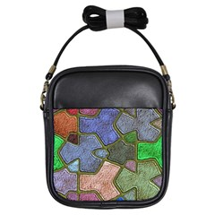Background With Color Kindergarten Tiles Girls Sling Bags by Nexatart