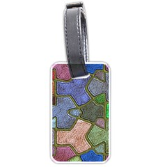 Background With Color Kindergarten Tiles Luggage Tags (one Side)  by Nexatart