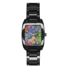 Background With Color Kindergarten Tiles Stainless Steel Barrel Watch