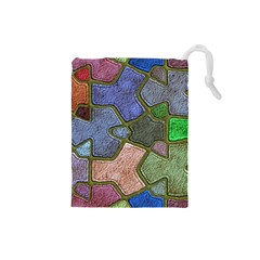 Background With Color Kindergarten Tiles Drawstring Pouches (small)
