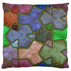 Background With Color Kindergarten Tiles Large Flano Cushion Case (two Sides) by Nexatart
