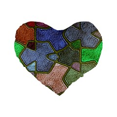 Background With Color Kindergarten Tiles Standard 16  Premium Flano Heart Shape Cushions by Nexatart