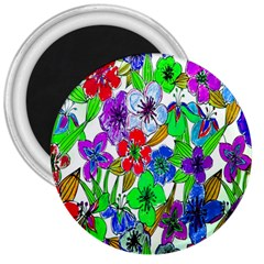 Background Of Hand Drawn Flowers With Green Hues 3  Magnets