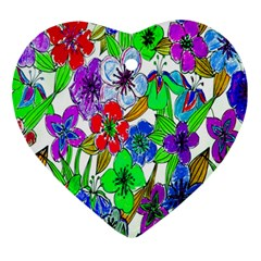 Background Of Hand Drawn Flowers With Green Hues Ornament (heart) by Nexatart
