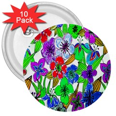 Background Of Hand Drawn Flowers With Green Hues 3  Buttons (10 Pack)  by Nexatart