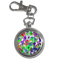Background Of Hand Drawn Flowers With Green Hues Key Chain Watches by Nexatart
