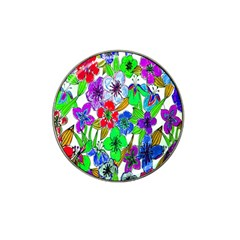 Background Of Hand Drawn Flowers With Green Hues Hat Clip Ball Marker by Nexatart
