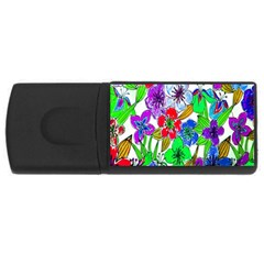 Background Of Hand Drawn Flowers With Green Hues Usb Flash Drive Rectangular (4 Gb) by Nexatart