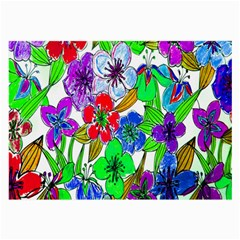 Background Of Hand Drawn Flowers With Green Hues Large Glasses Cloth (2 Side) by Nexatart