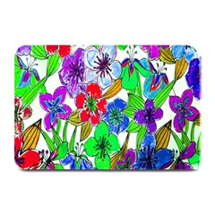 Background Of Hand Drawn Flowers With Green Hues Plate Mats by Nexatart