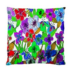 Background Of Hand Drawn Flowers With Green Hues Standard Cushion Case (two Sides) by Nexatart