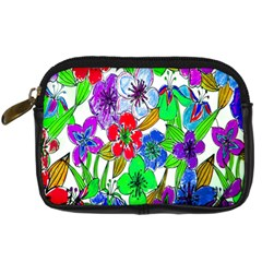 Background Of Hand Drawn Flowers With Green Hues Digital Camera Cases by Nexatart