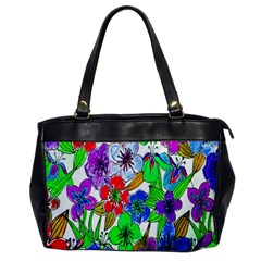 Background Of Hand Drawn Flowers With Green Hues Office Handbags