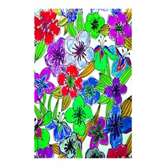 Background Of Hand Drawn Flowers With Green Hues Shower Curtain 48  X 72  (small)  by Nexatart
