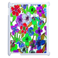 Background Of Hand Drawn Flowers With Green Hues Apple Ipad 2 Case (white) by Nexatart