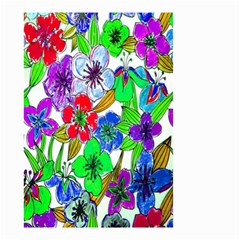 Background Of Hand Drawn Flowers With Green Hues Small Garden Flag (two Sides) by Nexatart