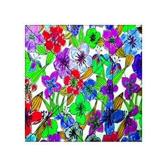 Background Of Hand Drawn Flowers With Green Hues Acrylic Tangram Puzzle (4  X 4 )