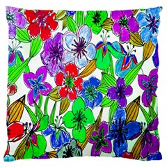 Background Of Hand Drawn Flowers With Green Hues Large Cushion Case (one Side) by Nexatart
