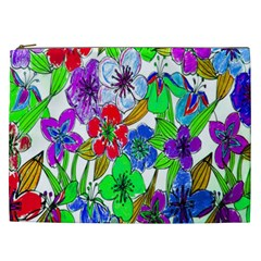Background Of Hand Drawn Flowers With Green Hues Cosmetic Bag (xxl)  by Nexatart