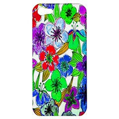Background Of Hand Drawn Flowers With Green Hues Apple Iphone 5 Hardshell Case by Nexatart