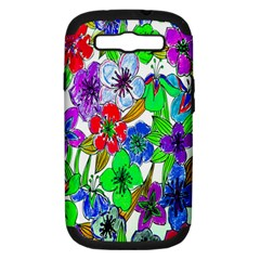 Background Of Hand Drawn Flowers With Green Hues Samsung Galaxy S Iii Hardshell Case (pc+silicone)