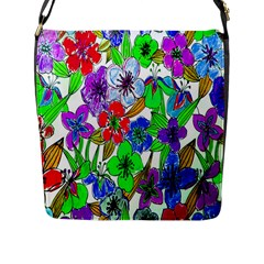 Background Of Hand Drawn Flowers With Green Hues Flap Messenger Bag (l)  by Nexatart