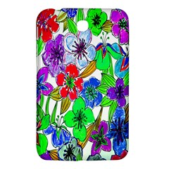 Background Of Hand Drawn Flowers With Green Hues Samsung Galaxy Tab 3 (7 ) P3200 Hardshell Case  by Nexatart