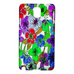 Background Of Hand Drawn Flowers With Green Hues Samsung Galaxy Note 3 N9005 Hardshell Case by Nexatart