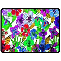 Background Of Hand Drawn Flowers With Green Hues Double Sided Fleece Blanket (large)  by Nexatart
