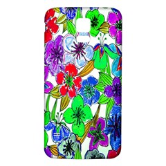 Background Of Hand Drawn Flowers With Green Hues Samsung Galaxy S5 Back Case (white)