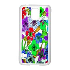 Background Of Hand Drawn Flowers With Green Hues Samsung Galaxy S5 Case (white) by Nexatart
